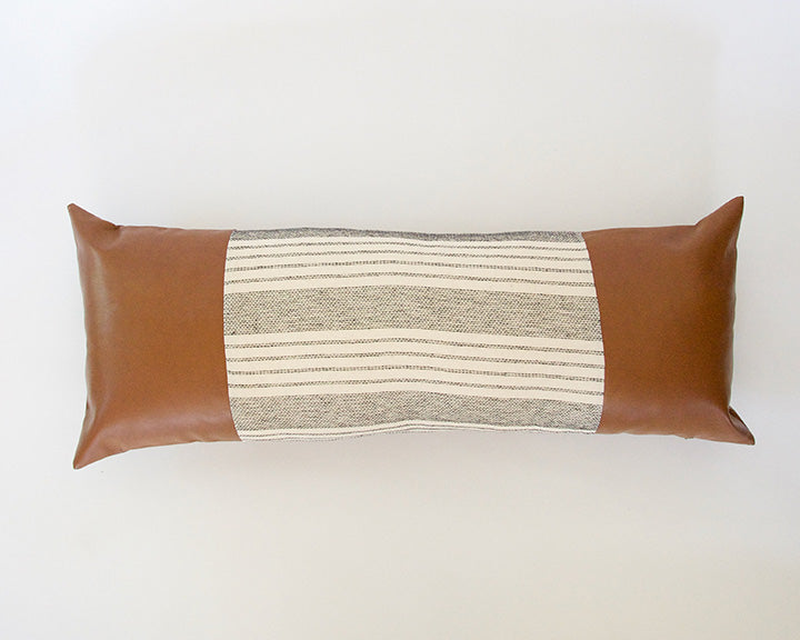 Mix & Match: White Stripe / Faux Leather Extra Long Lumbar Pillow #2 - 14x36