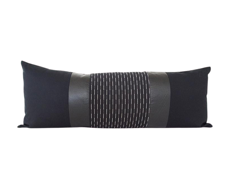 Mixed: Black Running Stitch / Black Faux Leather Extra Long Lumbar Pillow - 14x36