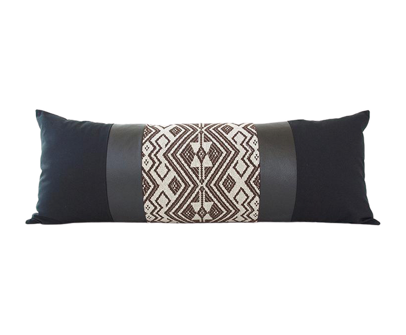 Mixed: Ebony / Faux Leather Extra Long Lumbar Pillow - 14x36