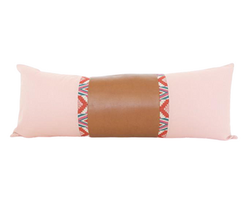 Mixed: Pink Snake River / Faux Leather Extra Long Lumbar Pillow - 14x36