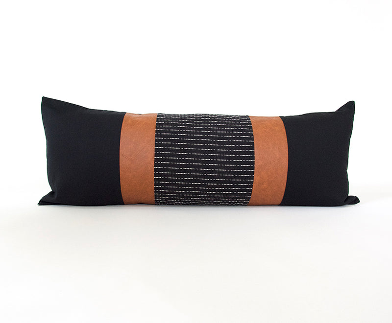 Mixed: Black Running Stitch / Faux Leather Extra Long Lumbar Pillow - 14x36