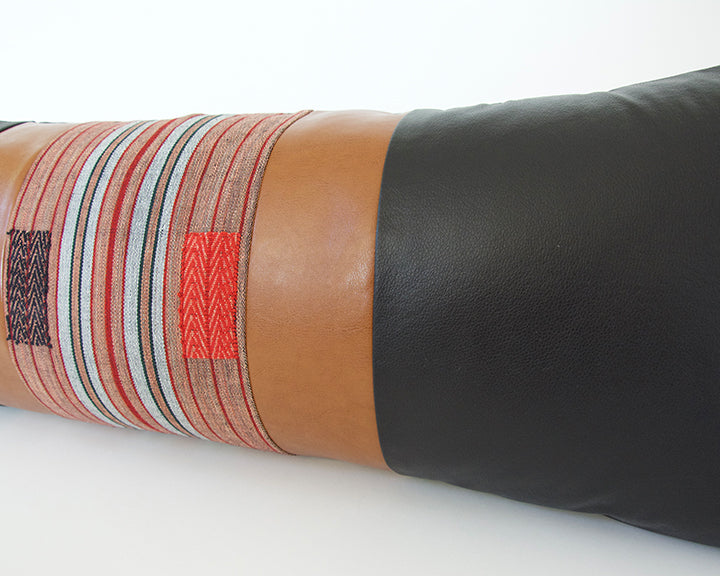 Mixed: Black & Red / Faux Leather Extra Long Lumbar Pillow - 14x36