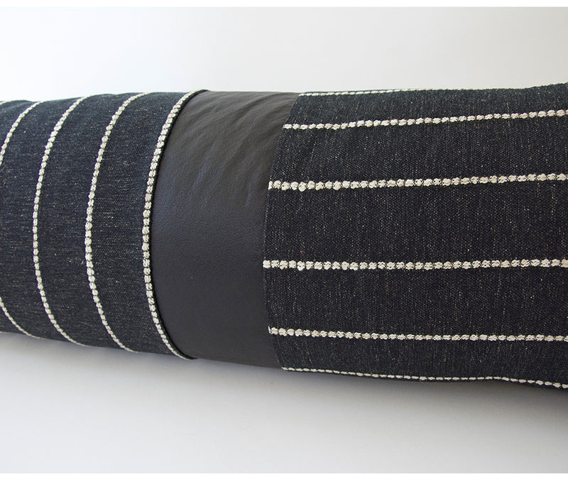 Mixed: Evie Black / Faux Leather Extra Long Lumbar Pillow - 14x50