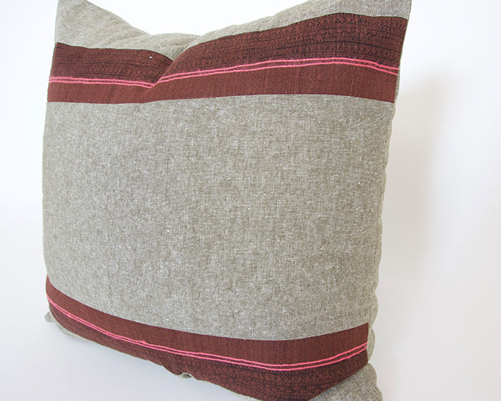 Mixed: Olive Green / Burgundy Hmong Pillow - 20x20