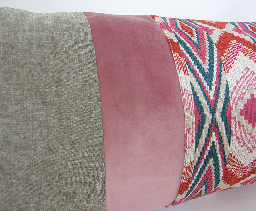 Mixed: Olive Green & Snake River Pink Extra Long Lumbar Pillow - 14x36
