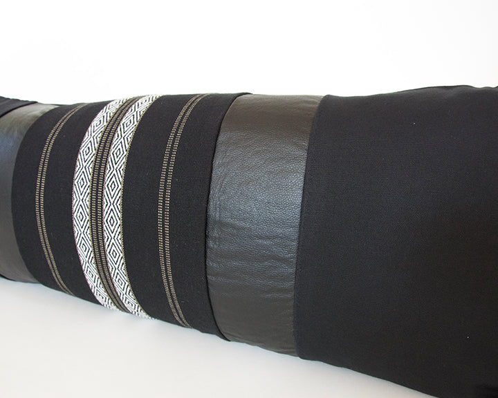 Mixed: Southwest Stripes / Faux Leather Extra Long Lumbar Pillow - 14x36