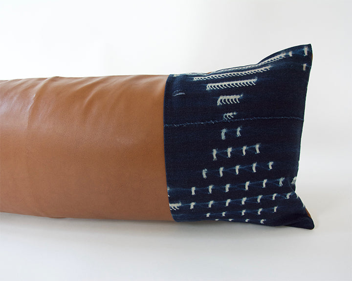 Mixed: Indigo Mud Cloth/ Faux Leather Extra Long Lumbar Pillow #6 - 14x36