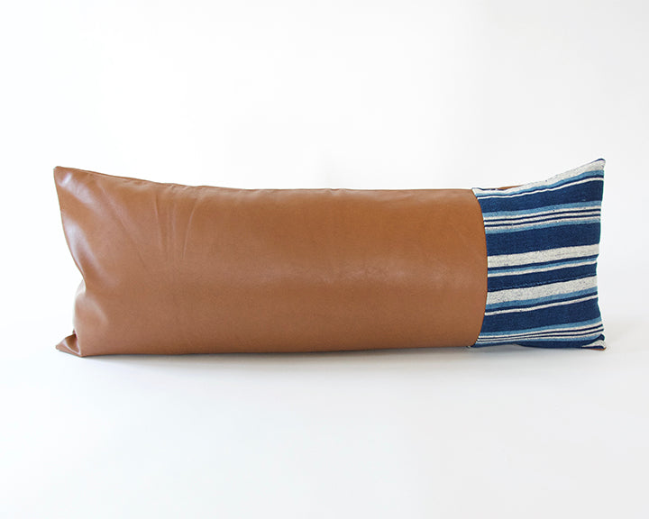 Mixed: Striped Mud Cloth/ Faux Leather Extra Long Lumbar Pillow #2 - 14x36
