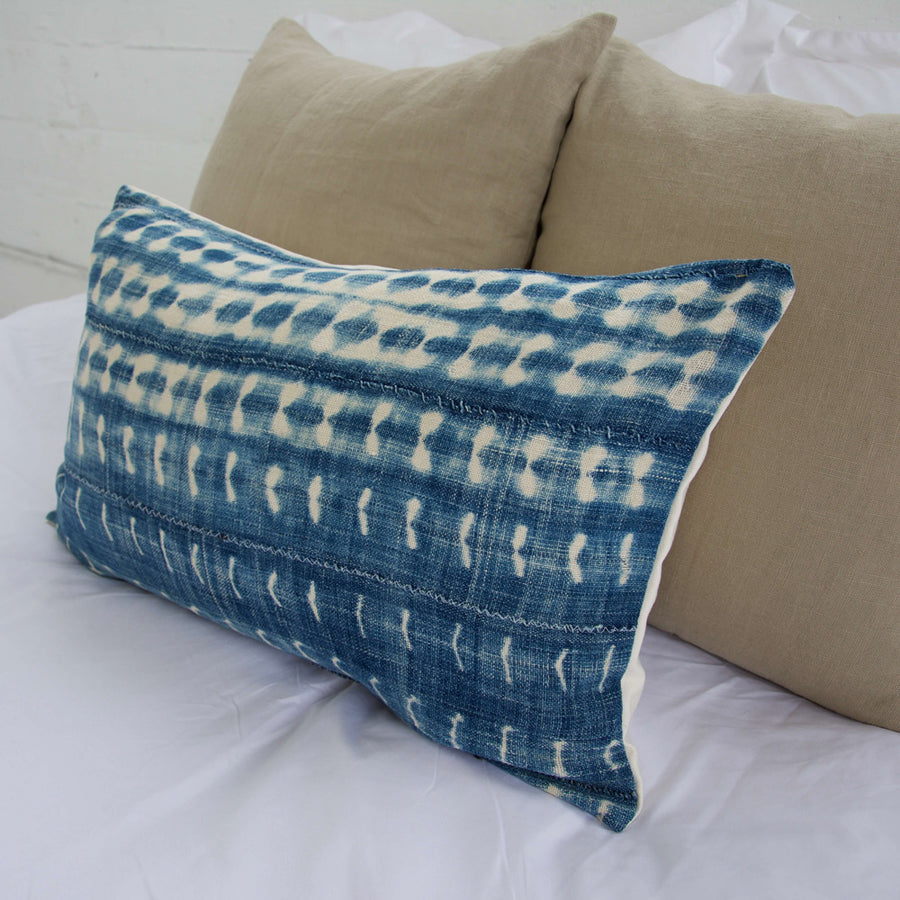 Indigo African Mud Cloth Lumbar Pillow - 14x22