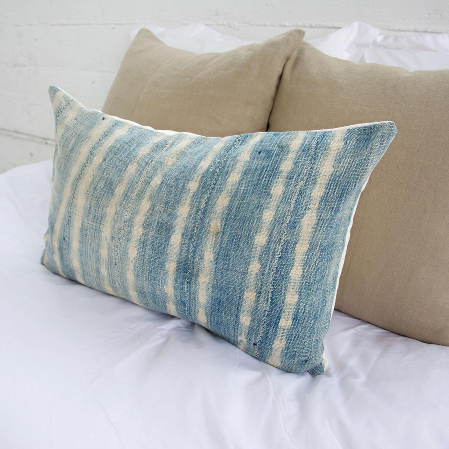 Indigo African Mud Cloth Lumbar Pillow - 14x22 #13