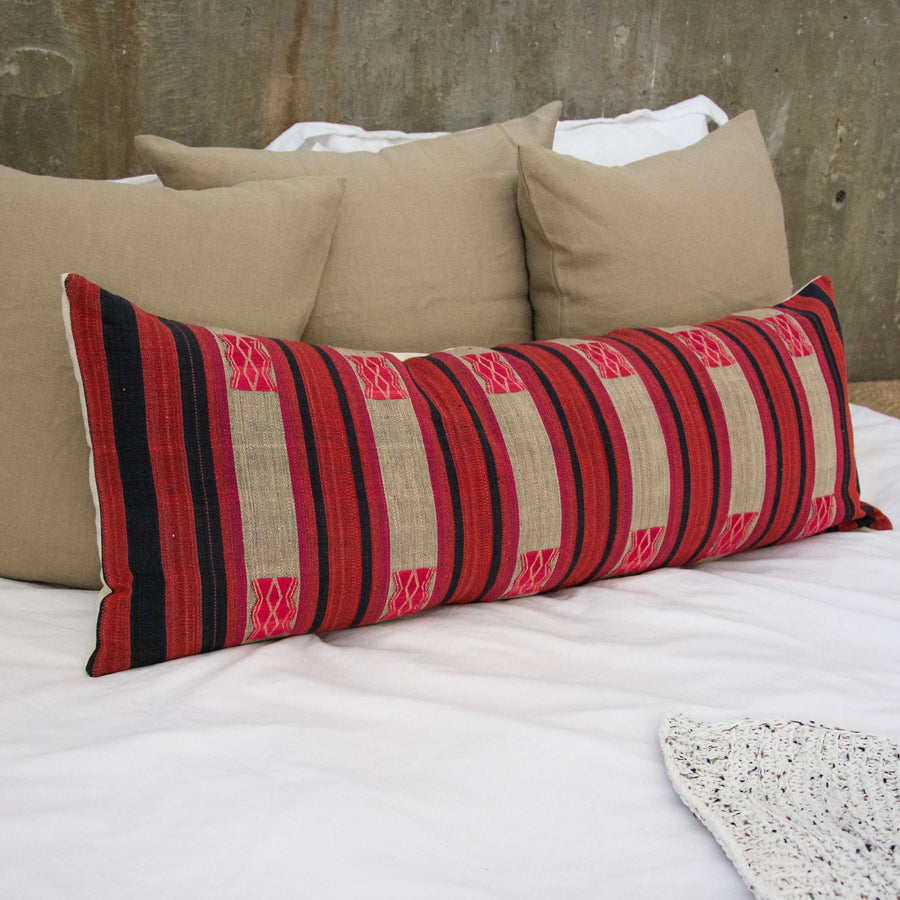 Extra Long Lumbar Pillow 14x36 inches Red Pink Navy