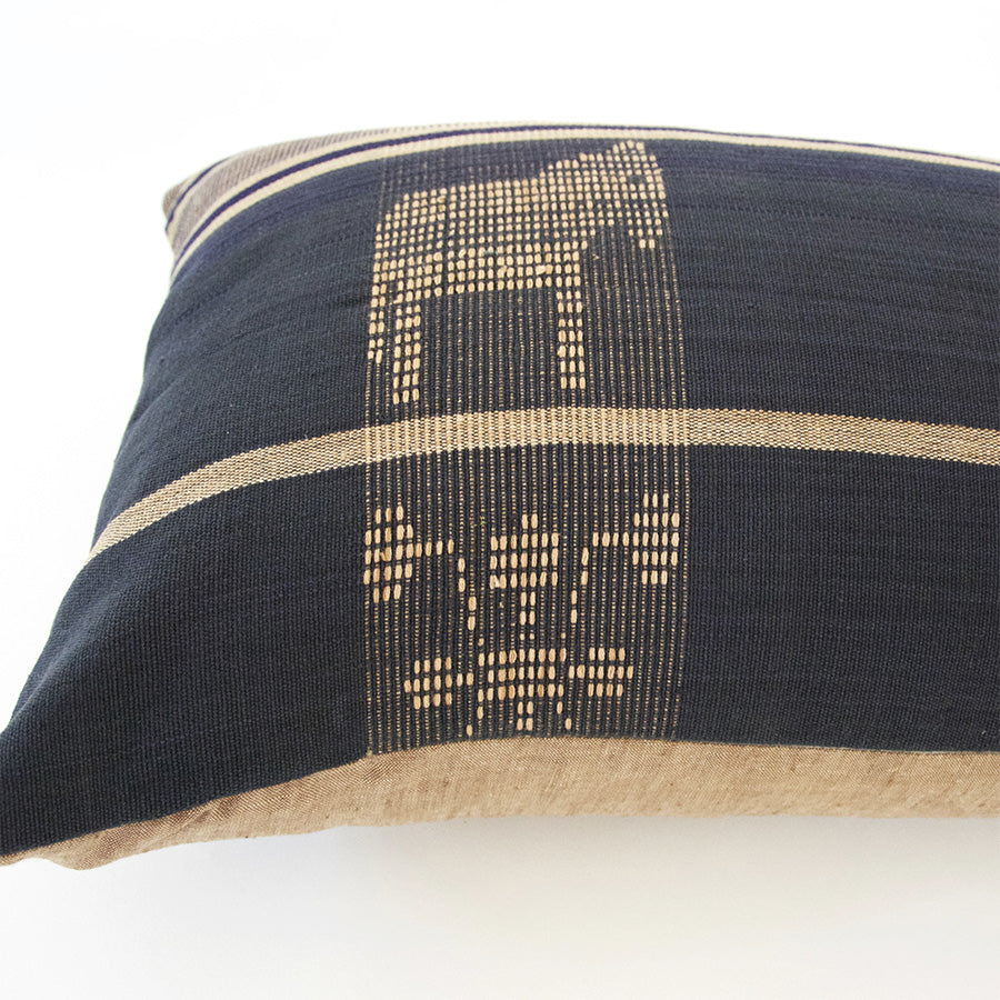 Naga Tribal Lumbar Pillow - Navy Blue & Golden Brown - 14x22