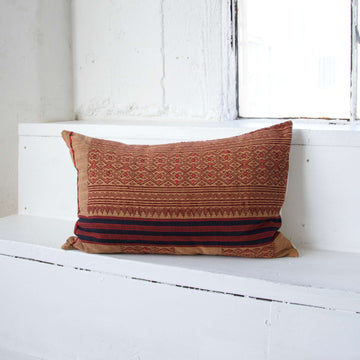 Naga Tribal Lumbar Pillow - Peach & Red - 14x22