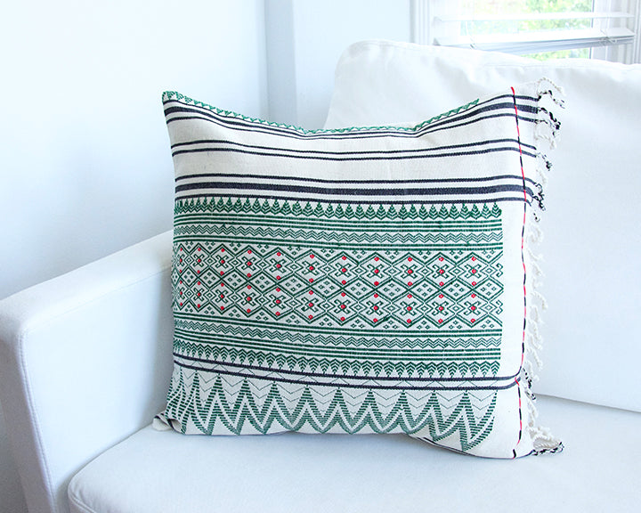 Naga Tribal Accent Pillow - Cream & Green - 20x20