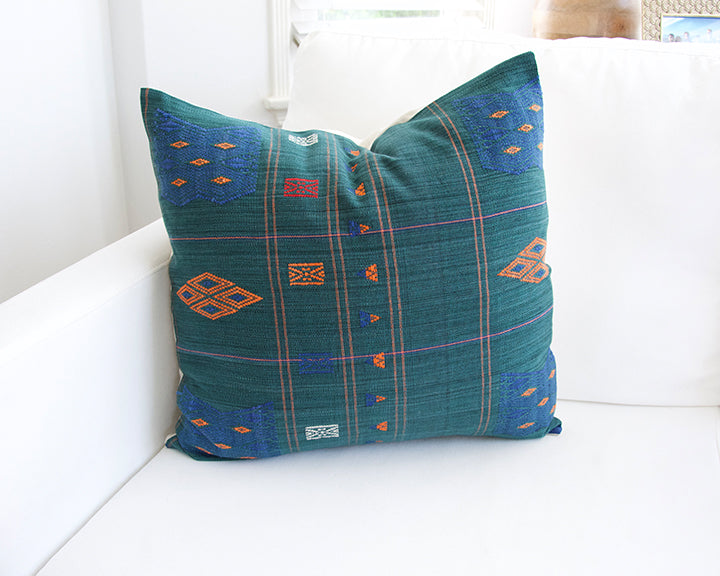 Naga Tribal Accent Pillow - Midnight Green & Blue - 22x22