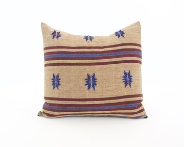 Naga Tribal Accent Pillow - Pale Brown, Blue & Burgundy - 22x22
