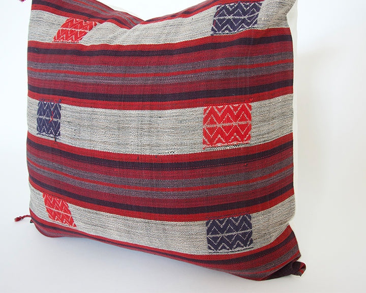 Naga Tribal Accent Pillow - Red, Purple, Burgundy - 20x20 (With Fringe)