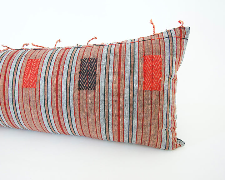 Naga Tribal Extra Long Lumbar Pillow - Black, Red - 14x36
