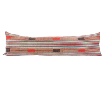 Naga Tribal Extra Long Lumbar Pillow - Black, Red - 14x50
