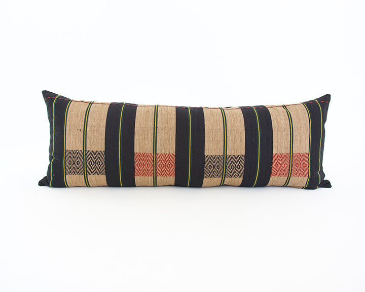 Naga Tribal Extra Long Lumbar Pillow - Black, Red & Yellow - 14x36