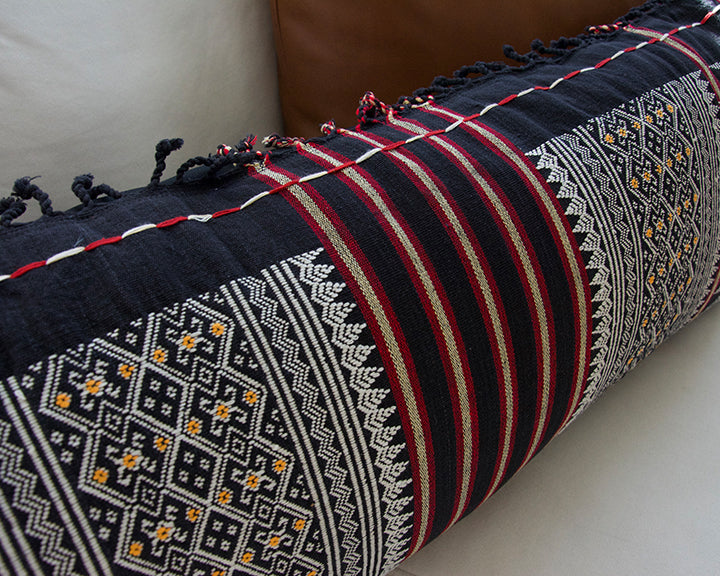 Naga Tribal Extra Long Lumbar Pillow - Black, Red, Yellow - 14x36