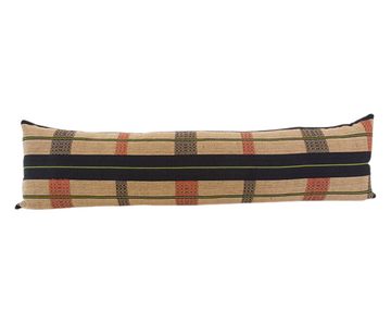 Naga Tribal Extra Long Lumbar Pillow - Black, Red & Yellow - 14x50