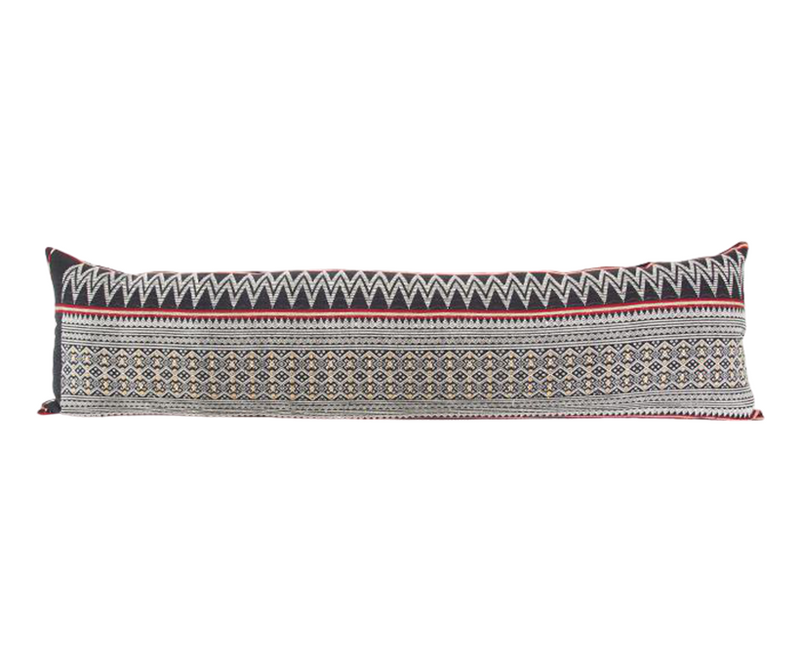 Naga Tribal Extra Long Lumbar Pillow - Black, Red, Yellow - 14x50