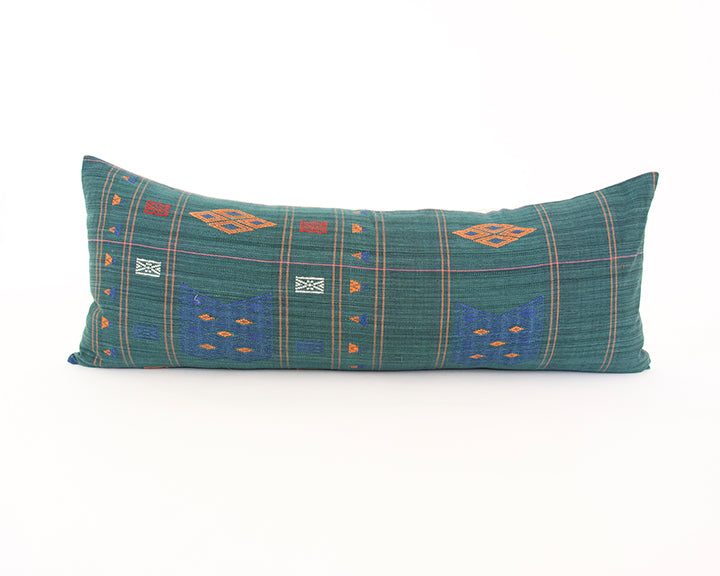 Naga Tribal Extra Long Lumbar Pillow - Midnight Green & Blue - 14x36
