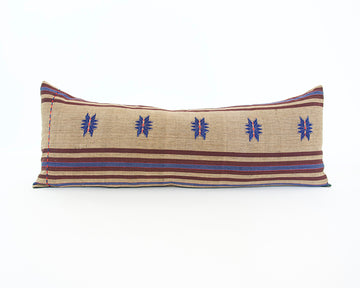 Naga Tribal Extra Long Lumbar Pillow - Pale Brown, Blue & Burgundy - 14x36