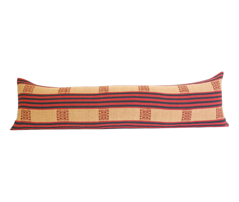 Naga Tribal Extra Long Lumbar Pillow - Peach, Navy, Red - 14x50