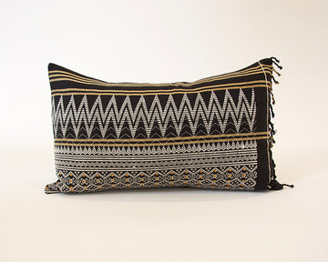 Naga Tribal Lumbar Pillow - Black & Yellow - 14x22