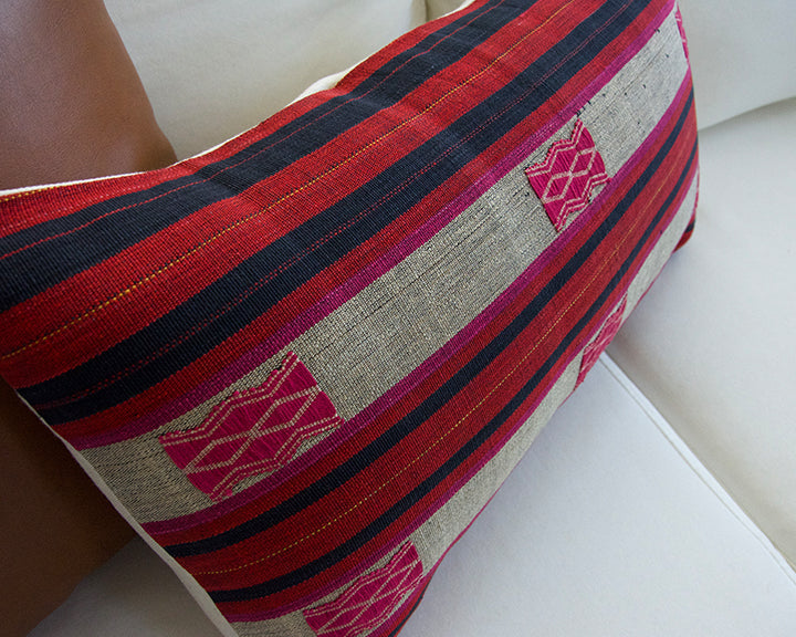 Naga Tribal Lumbar Pillow - Navy & Red - 14x22