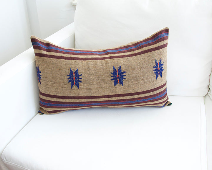 Naga Tribal Lumbar Pillow - Pale Brown, Blue & Burgundy - 14x22