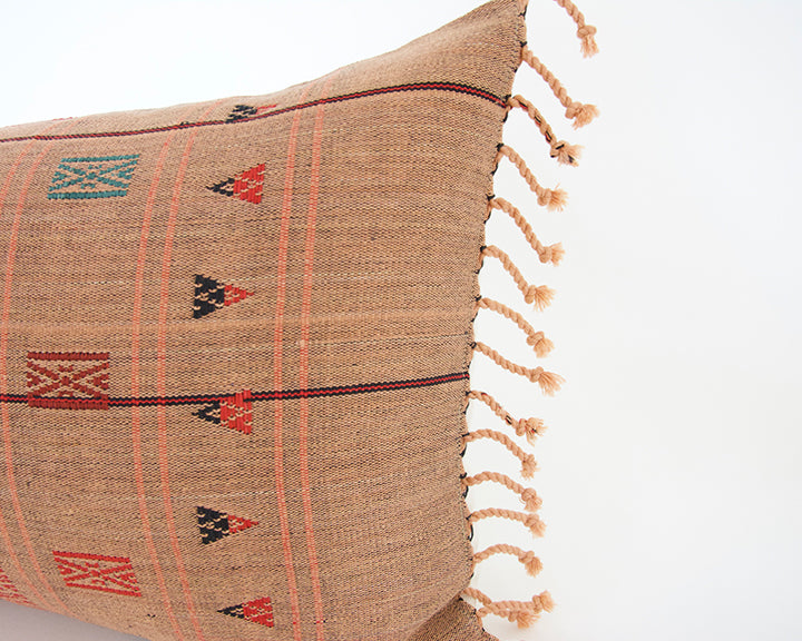 Naga Tribal Lumbar Pillow - Peach, Burgundy - 14x22 #1