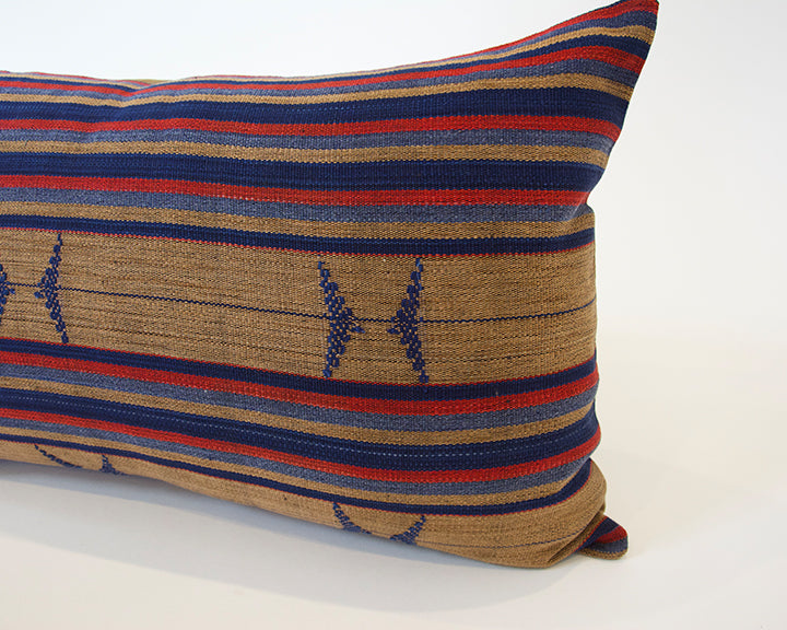 Naga Tribal Lumbar Pillow - Red, Brown & Blue - 14x22
