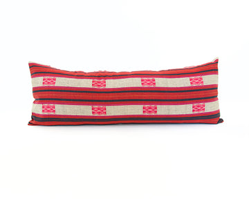 Naga Tribal Lumbar Pillow  - Red, Pink and Navy - 14x36 #3