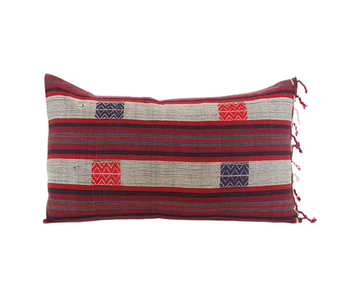 Naga Tribal Lumbar Pillow - Red, Purple, Burgundy - 14x22 (With Fringe)