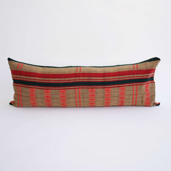 Naga Tribal Long Lumbar Pillow  - Red, Green and Natural - 14x36 #2