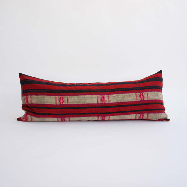 Naga Tribal Lumbar Pillow  - Red, Pink and Navy - 14x36 #2