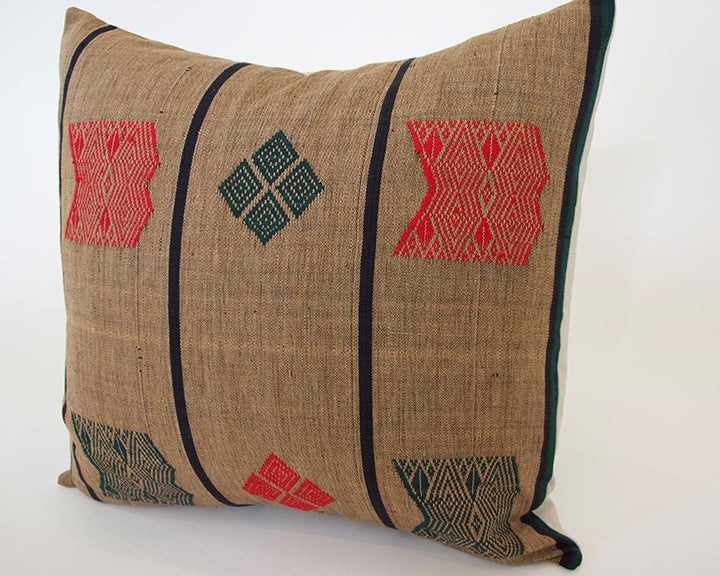 Naga Tribal Pillow - Brown, Green & Red - 20x20