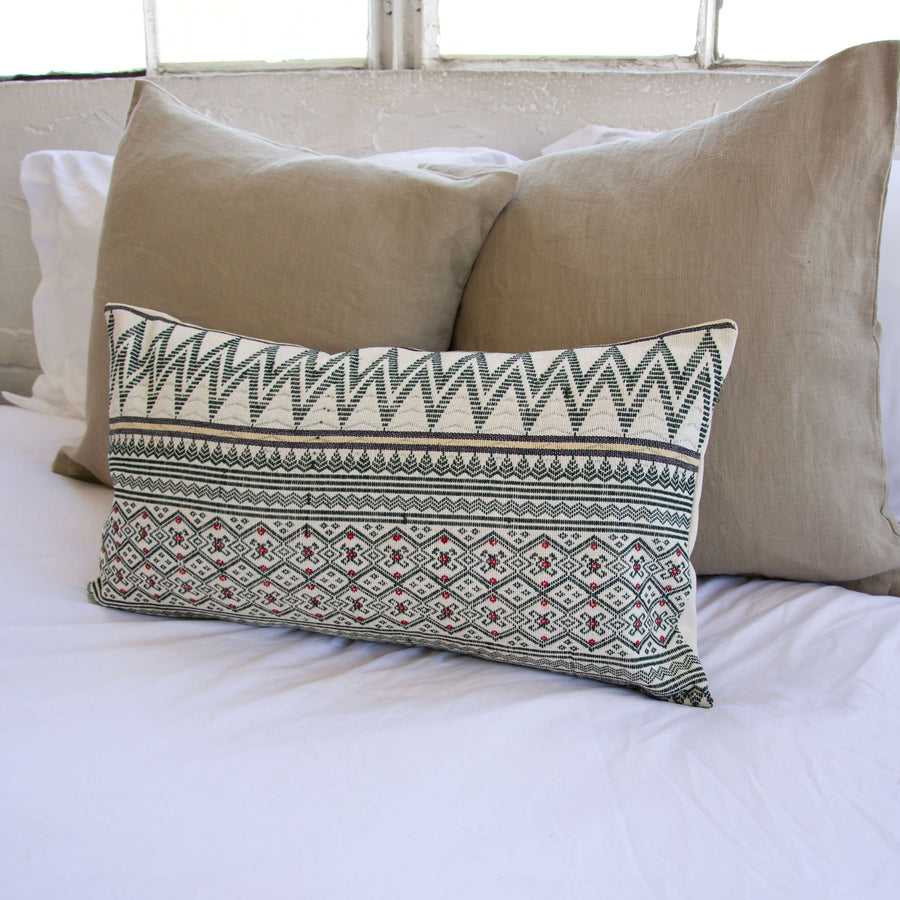 Naga Tribal Lumbar Pillow - Cream & Green - 14x22