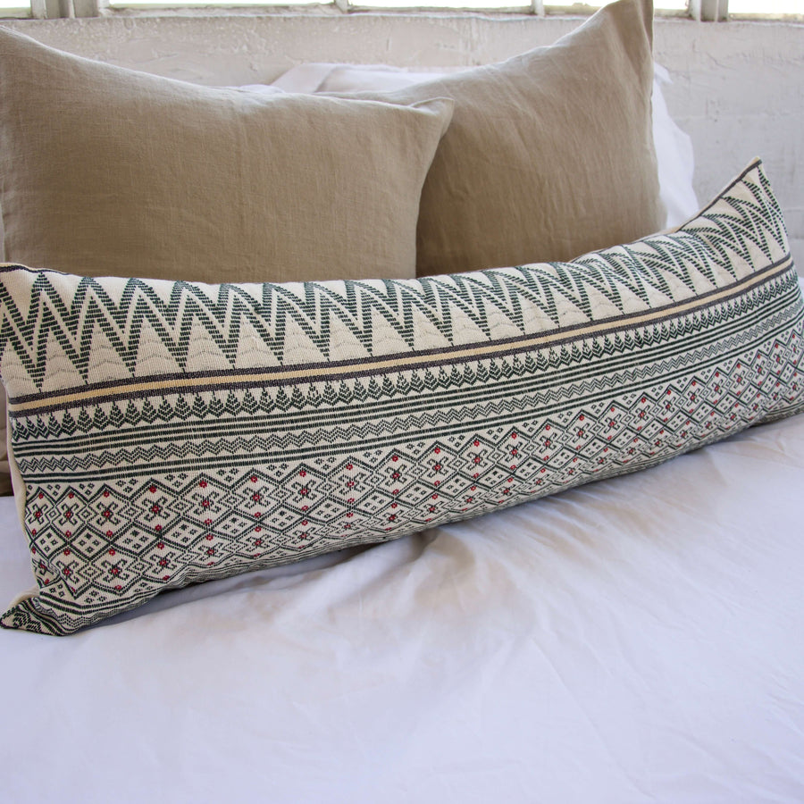 Naga Tribal Extra Long Lumbar Pillow - Green & Cream - 14x36