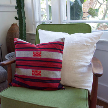 White Mud Cloth and Pink and Red Pillow Combo