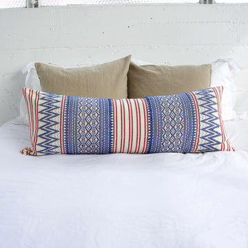 Naga Tribal Extra Long Lumbar Pillow - Red, Blue & Cream - 14x36