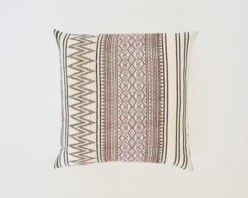 Naga Tribal Accent Pillow - Cream & Pink - 22x22