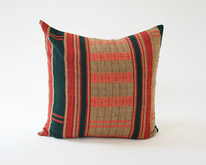 Naga Tribal Accent Pillow - Green & Red - 24x24