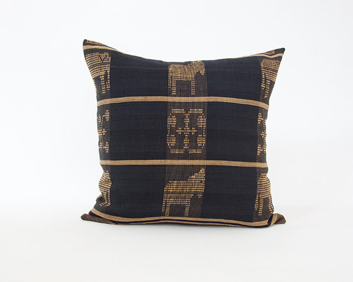Naga Tribal Accent Pillow - Navy Blue & Golden Brown - 22x22