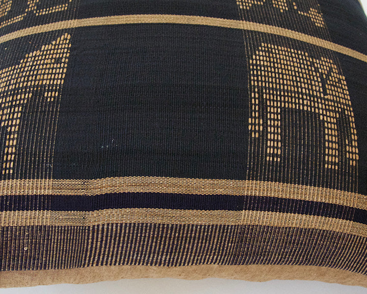 Naga Tribal Accent Pillow - Navy Blue & Golden Brown #1 - 22x22