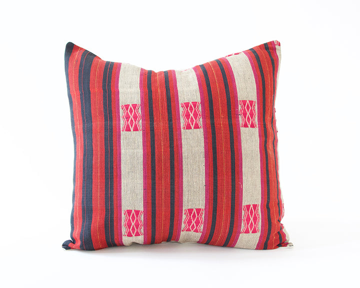 Naga Tribal Accent Pillow - Navy, Grey & Red - 22x22