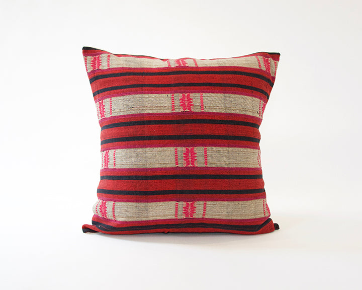 Naga Tribal Accent Pillow - Navy & Red - 24x24